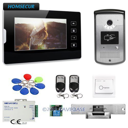HOMSECUR 7inch Wired Video Door Phone Intercom System with Intra-monitor Audio Intercom smtvdp direct press key audio door phone for 5 apartments 2 wired audio intercom system