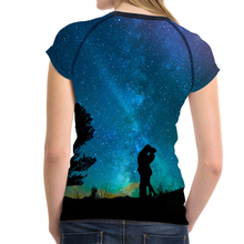 FORUDESIGNS Cool Galaxy Space Prints Women T Shirt Summer Short Sleeve 3D Top Tees Sim Fit Tee Shirt for Ladies Female Funny Tee