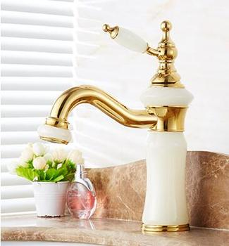 fashion high quality solid brass and natural jade construction bathroom hot and cold gold finish basin faucet,tap sink mixer