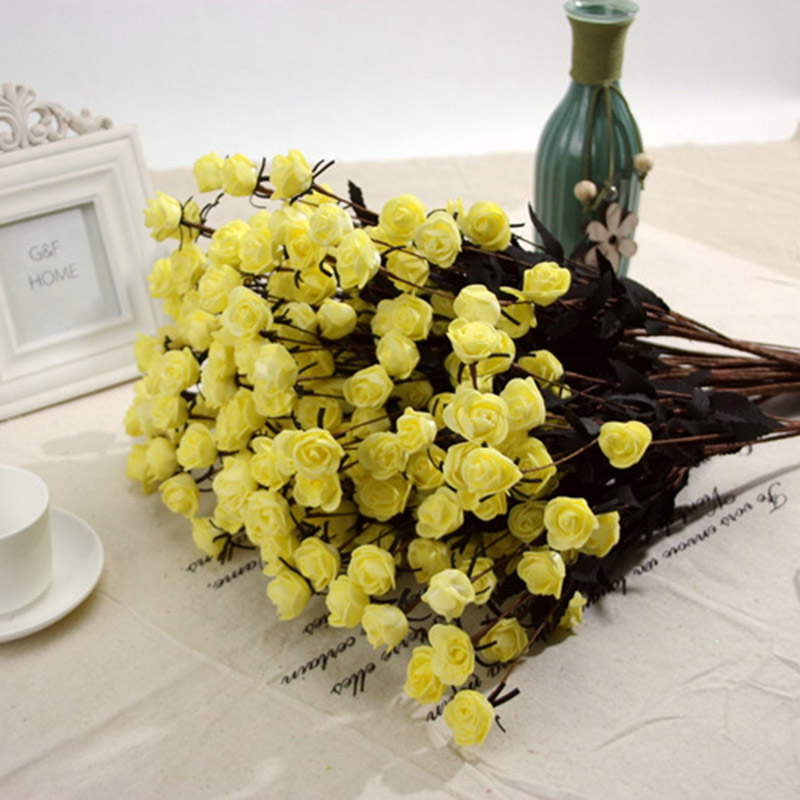 Hq Small Irish Rose Foam Artificial Flowers PE Handmake Fake Floral ...