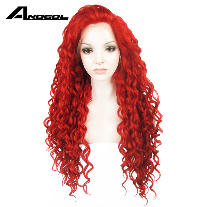 Anogol высокая температура волокно Widow пик длинные светлые фиолетовые красные синтетические волосы парики кудрявый парик фронта шнурка для женщин
