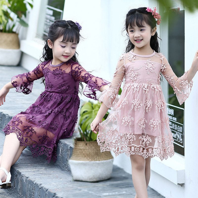 WENDYWU summer girls dresses children fresh Flare sleeve lace dress girl party dress 3 colors baby kids clothes 4-13 years