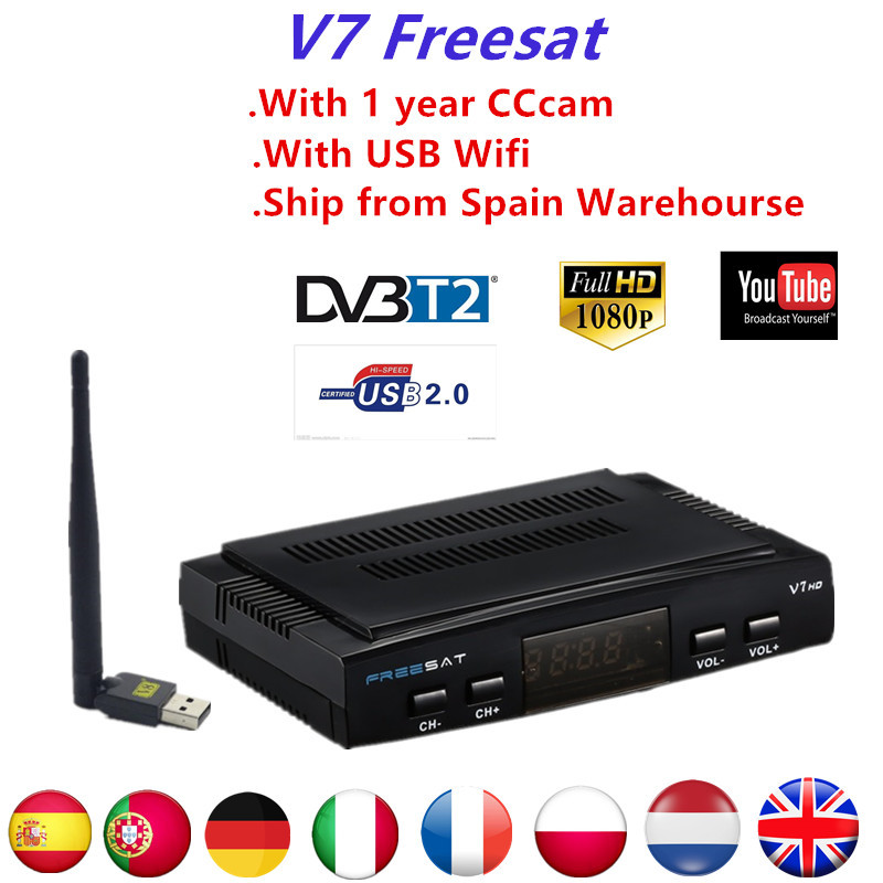 Freesat V7 HD1080P Receptor Satellite Decoder With Free1 Year CCcam Clines DVB-S2 With USB WIFI Support youtube powervu bisskey de it es channels dvb s s2 satellite fta lines 1 year cccam clines newcamd usb wifi satellite tv receiver for free shipping