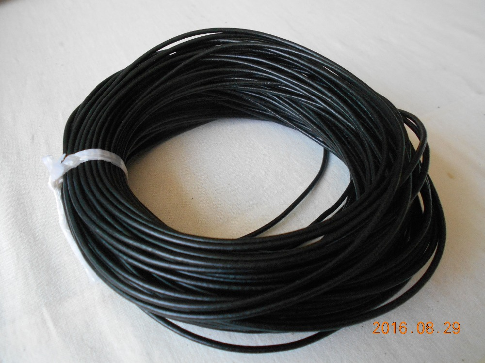 1mm 1.5mm 2mm 3mm 4mm 5mm 6mm Round Genuine Real Leather Jewelry Rope string Black Cord For Bracelet Necklace DIY Jewelry makin artificial leather rope round collarbone necklace