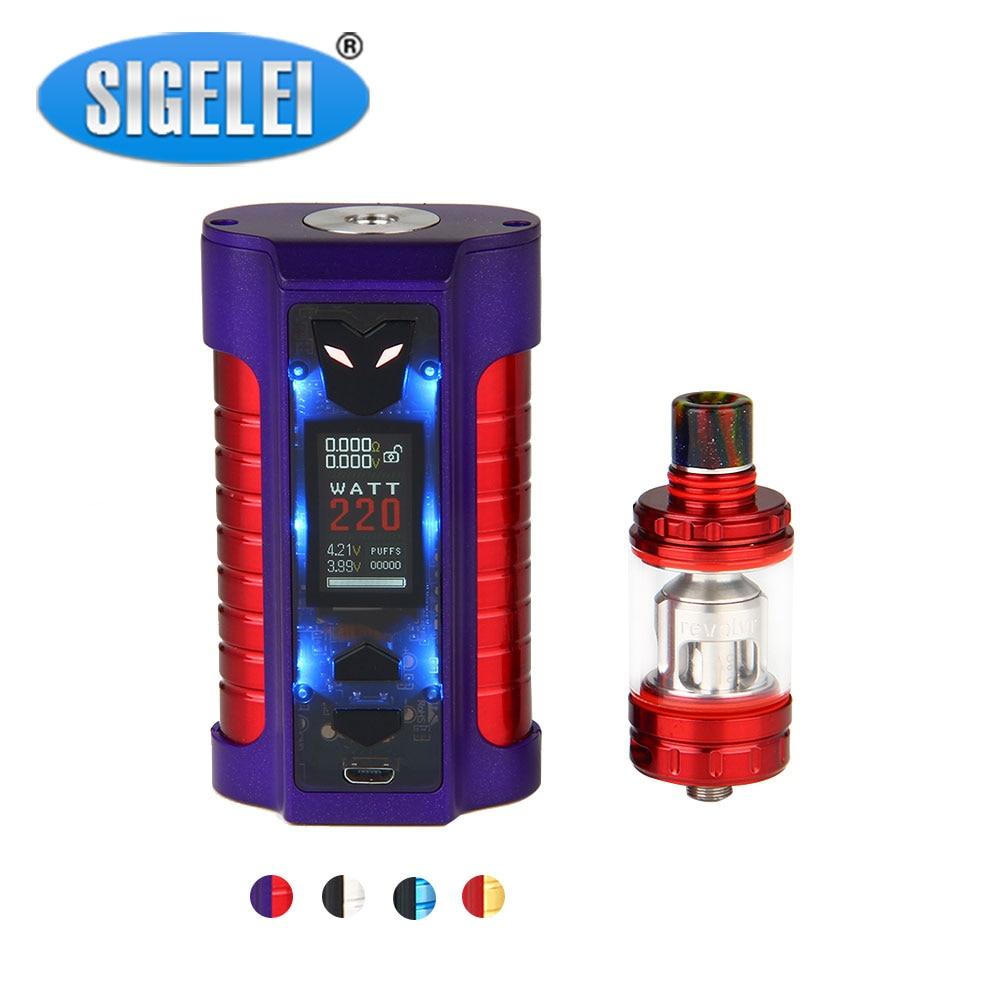 Original Sigelei MT 220W TC Kit with 4ml Revolvr Tank & Huge TFT Color Screen Max 220 Output No 18650 Battery Box Mod Vape Kit