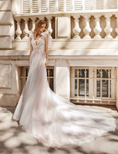 Verngo Boho Wedding Dress Appliques Lace Tulle Gowns Custom Size Elegant Sleeveless Bride Robe De Mariee 2019