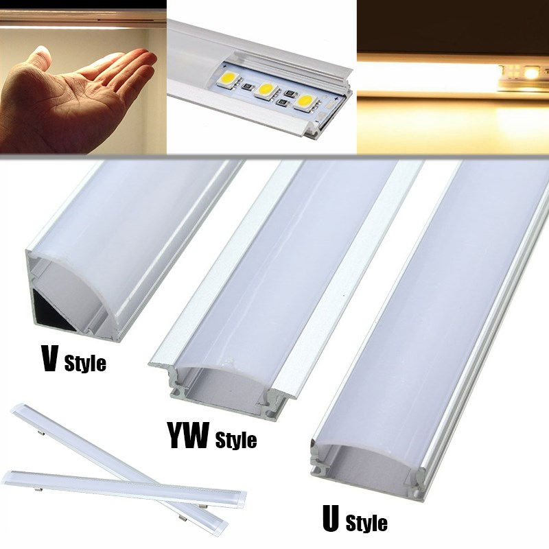 30/50cm U/V/YW Style Aluminium Milk Cover Rigid Channel Holder For LED Strip Bar Light DIY Lighting Under Cabinet Cupboard Lamp