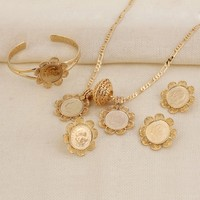 Sky Talent Bao New Arrival Coin Jewelry Sets America Canada Isreal Netherlan Gold Coin 5pcs Set