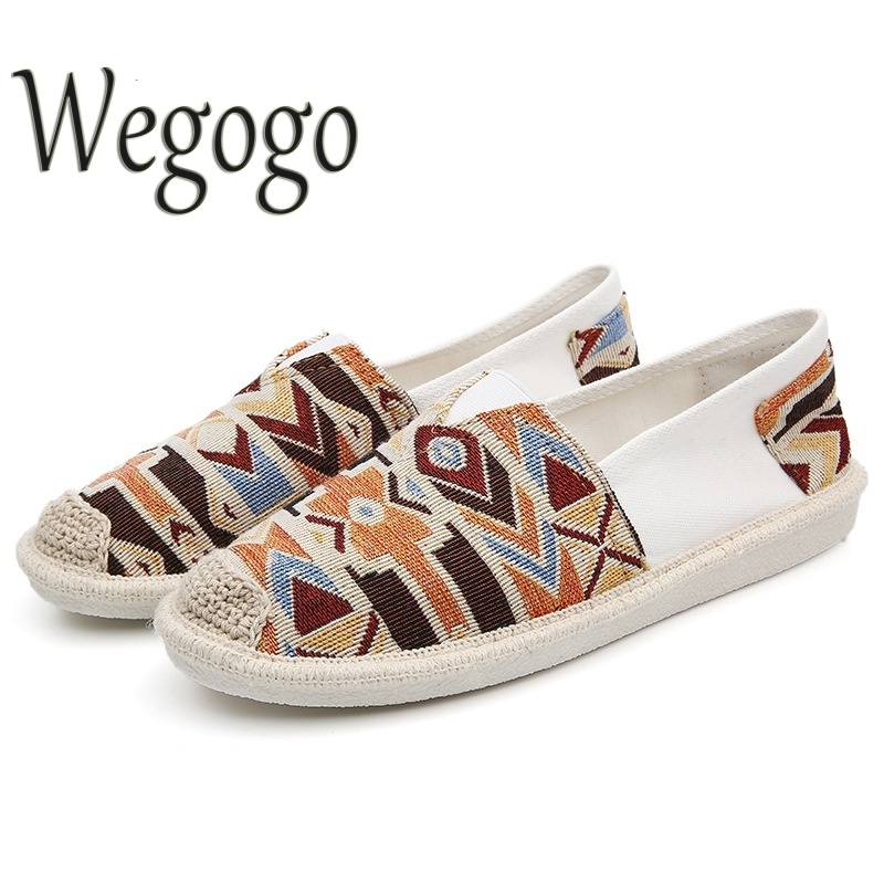 Wegogo Women Summer Shoes Fashion Owl Print Canvas Ladies Flats Shoes Casual Breathable Slip On Shoes Zapatos Mujer Size 35-40 new women shoes breathable fashion ladies flats non slip summer wedges shoes for women aa10218