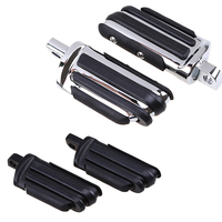1Pair Chrome Black Motorcycle Footrest Highway Foot Pegs Rest Motorbike Pedal Off Road Scooter Accessories For