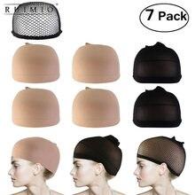 ad6219bacb13c 7 piezas peluca tapas Neutral Nude Beige y negro de malla de Peluca de  redes de buena calidad de tejido de malla de Peluca de pe.