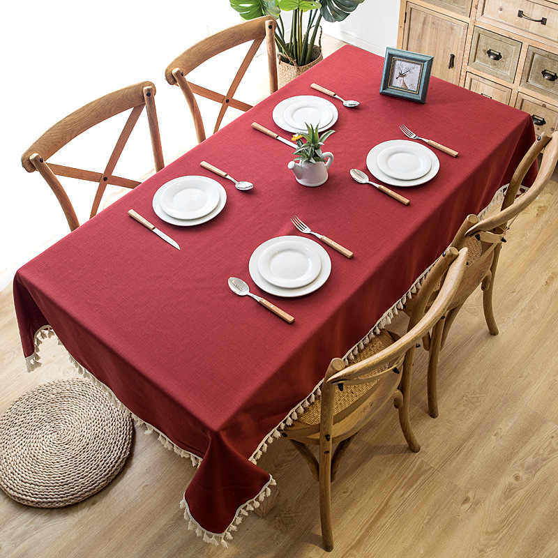 Hotel Rectangular Tablecloth Nordic Simplicity Red Cotton Linen Solid Embroidered Tassel Hem Table cloth for Christmas Banquet