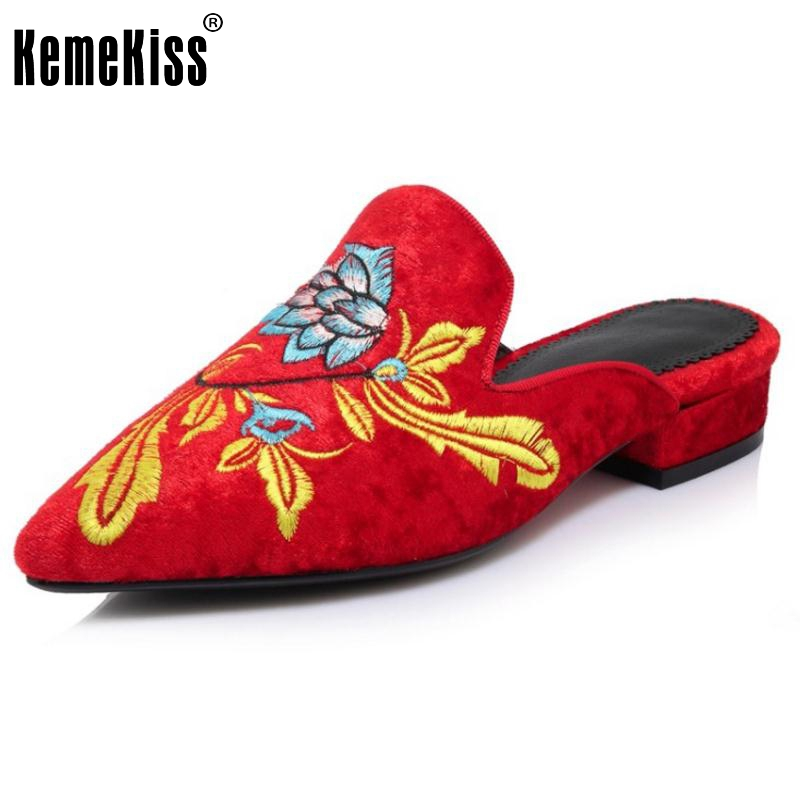 KemeKiss Size 32-43 Ladies Flats Sandals Embroidery Slipper Pointed Toe Summer Shoes Women Beach Party Leisure Female Footwear pu pointed toe flats with eyelet strap