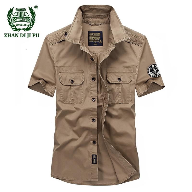 2018 Summer men's military high quality casual brand 100% cotton short sleeve shirts man afs jeep khaki shirt army green top tee