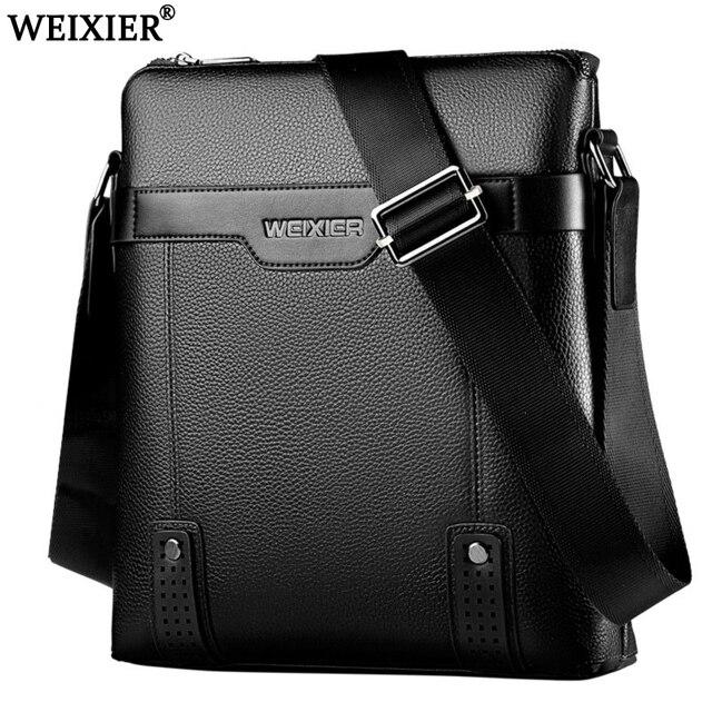 WEIXIER 2019 brand men's shoulder bag courier handbag large PU leather shoulder bag men handbags high-capacity leisure briefcase
