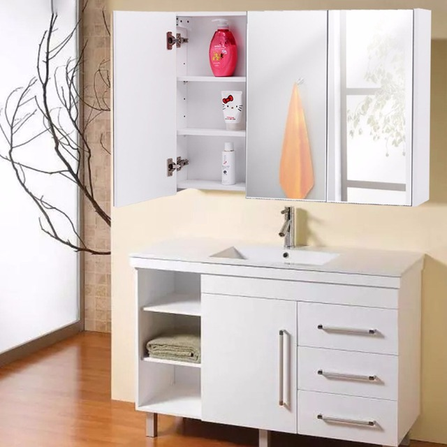 """giantex 36"""" wide wall mount mirrored bathroom cabinet with 3 mirror"""