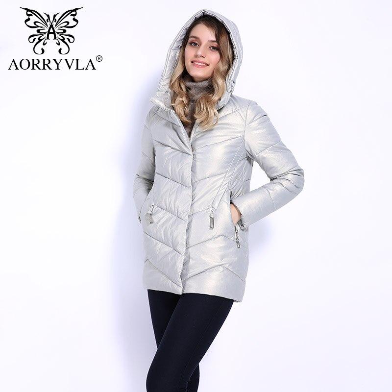 AORRYVLA 2018 New Winter Jacket Women Short Luxury Women Faux Leather Coat Casual Hood   Parka   Ladies Europe Style Outwear