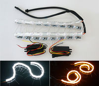 New flow style!! dual color White/Amber Switchback flexible LED Strip Head Light Turn Signal Knight Rider Sequential flow DRL