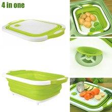 4 в 1 складная корзина для слива многофункциональная доска инструмент для кухни фрукты овощи XHC88