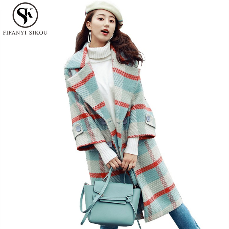 91ff815a7f3c7 Winter Coat women Fashion Plaid Wool caot Warm Overcoat Double Breasted  Loose Long Woolen coat Ladies