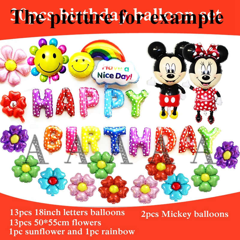 30pcs birthday balloons set happy birthday letters balloons mickey minnie hello