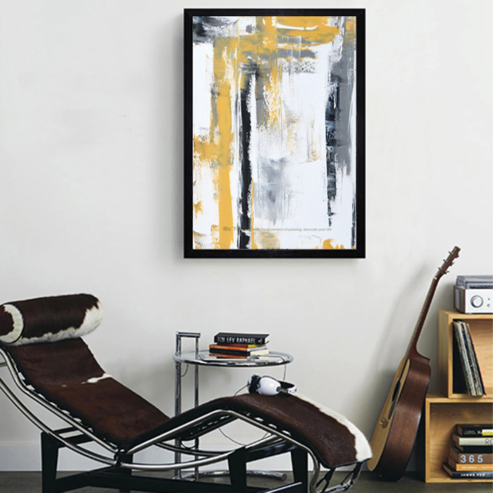 Large oil Painting on canvas Abstract Art Modern yellow vertical ...