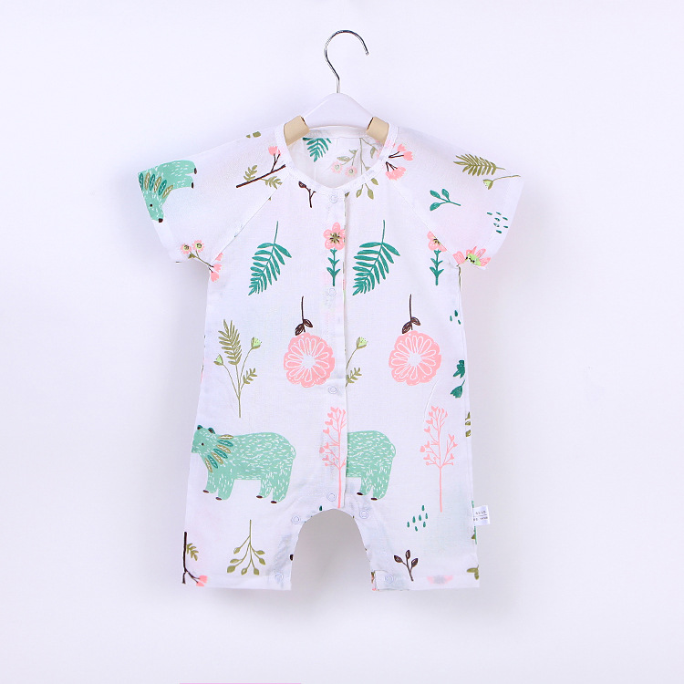 Baby rompers 2018 kids summer clothes for baby short sleeve bears printed floral tollder onesie jumpersuit clothing