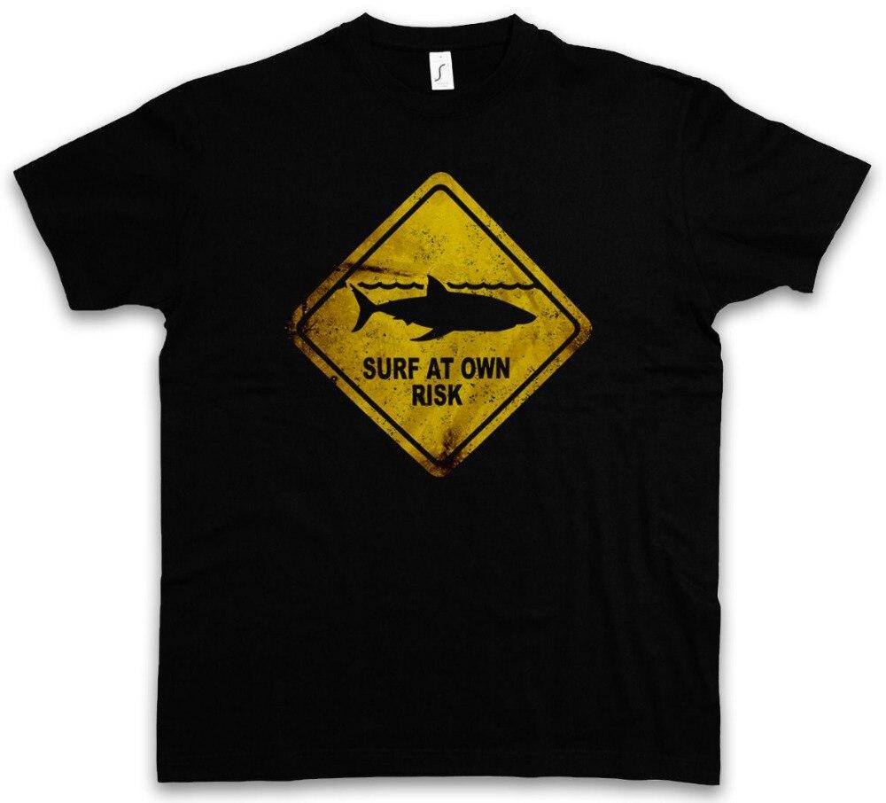 2018 Новая брендовая одежда акула предупреждающий знак футболка Хай Surfer Surfinger Diver Taucher Strand100 % хлопковые рубашки