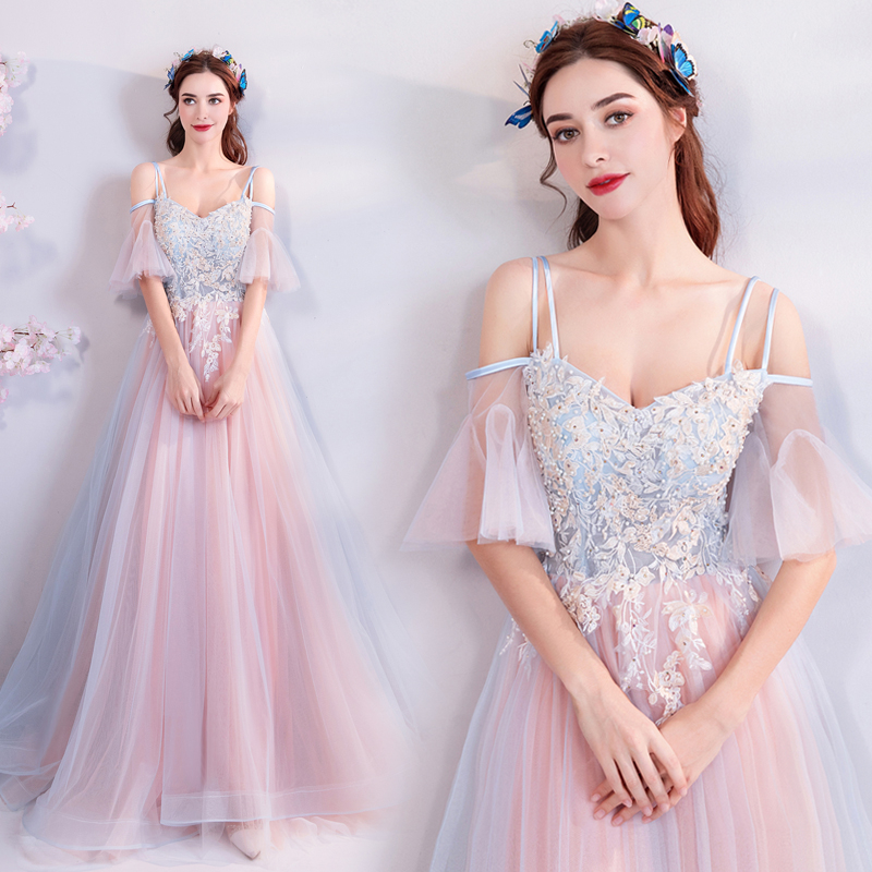 Pink with light blue long flared sleeve fairy sweat lady girl women  princess bridesmaid banquet party 1717b5d03d83