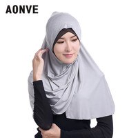 Aonve Musulman Plain Long Hijab For Women Prayer Wear Neck Cover Islamic Femme Turban Saudi Arabic Ladies Casual Headscarf