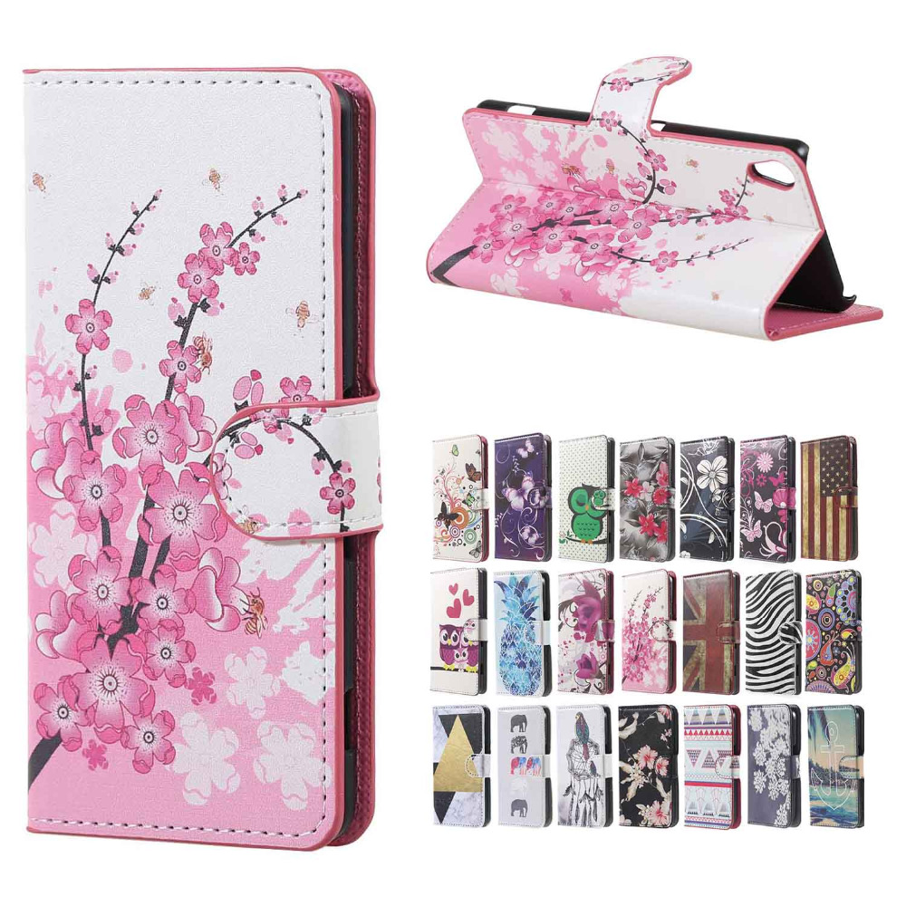 for sony e5 case pink plum magnetic leather wallet handbag. Black Bedroom Furniture Sets. Home Design Ideas
