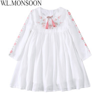 Kidsalon Kids Clothes Birthday Dress Christmas Embroidered Girl Party Dress With Tassel Robe Fille Kids Dresses