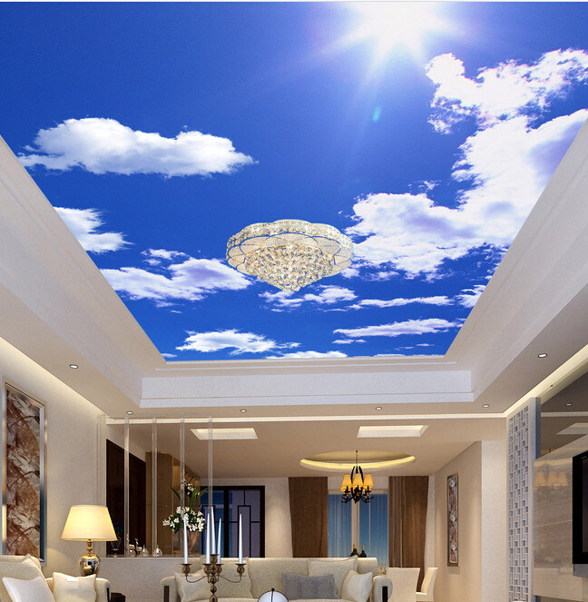 Custom Ceiling Wallpaper, Blue Sky And White Clouds For