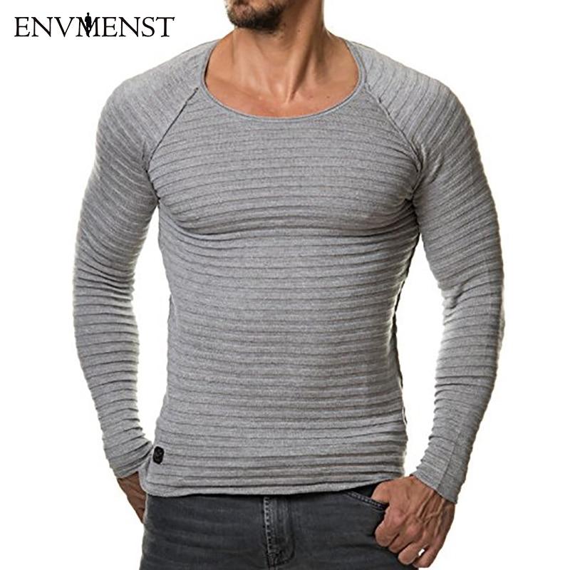 df4da43427 Envmenst 2017 őszi márka tervezett Kötés Férfi 3D csíkos póló hosszú ...