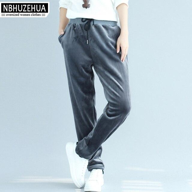 NBHUZEHUA T680 3XL 4XL Autumn Winter Casual Pants Vintage Velvet Harem Pants Thicken Plus Size Sweatpants Trousers
