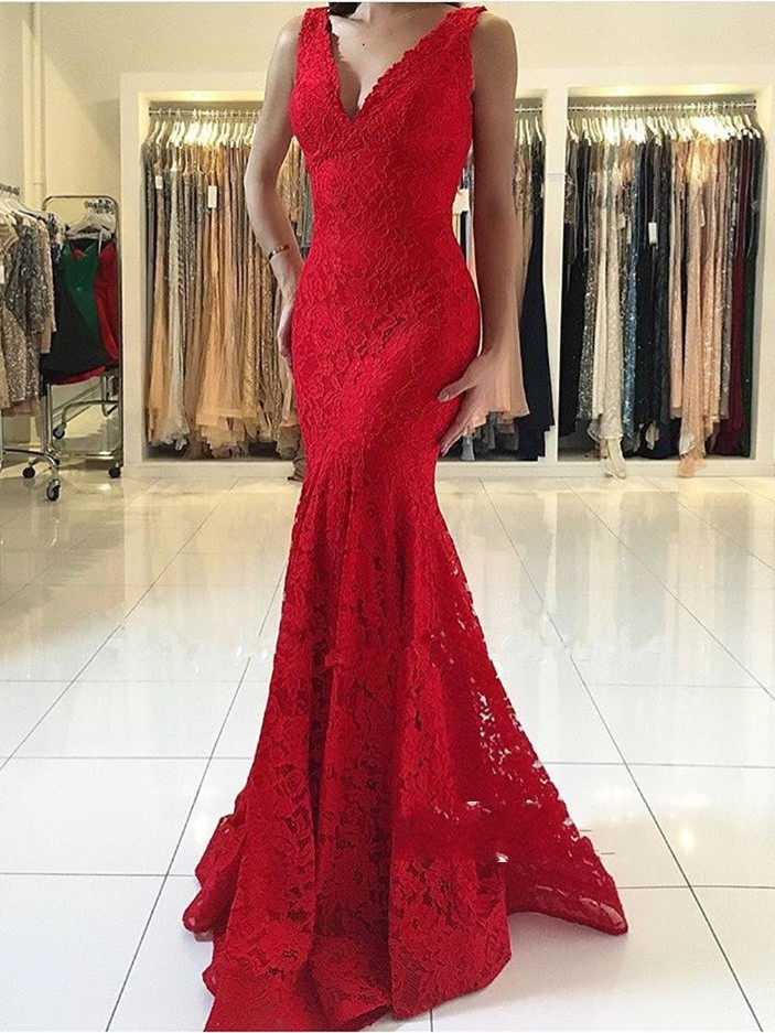 abendkleider Fashionable Long Red Evening Dresses Mermaid V-neck Lace Prom Party Dress Sleeveless (China)