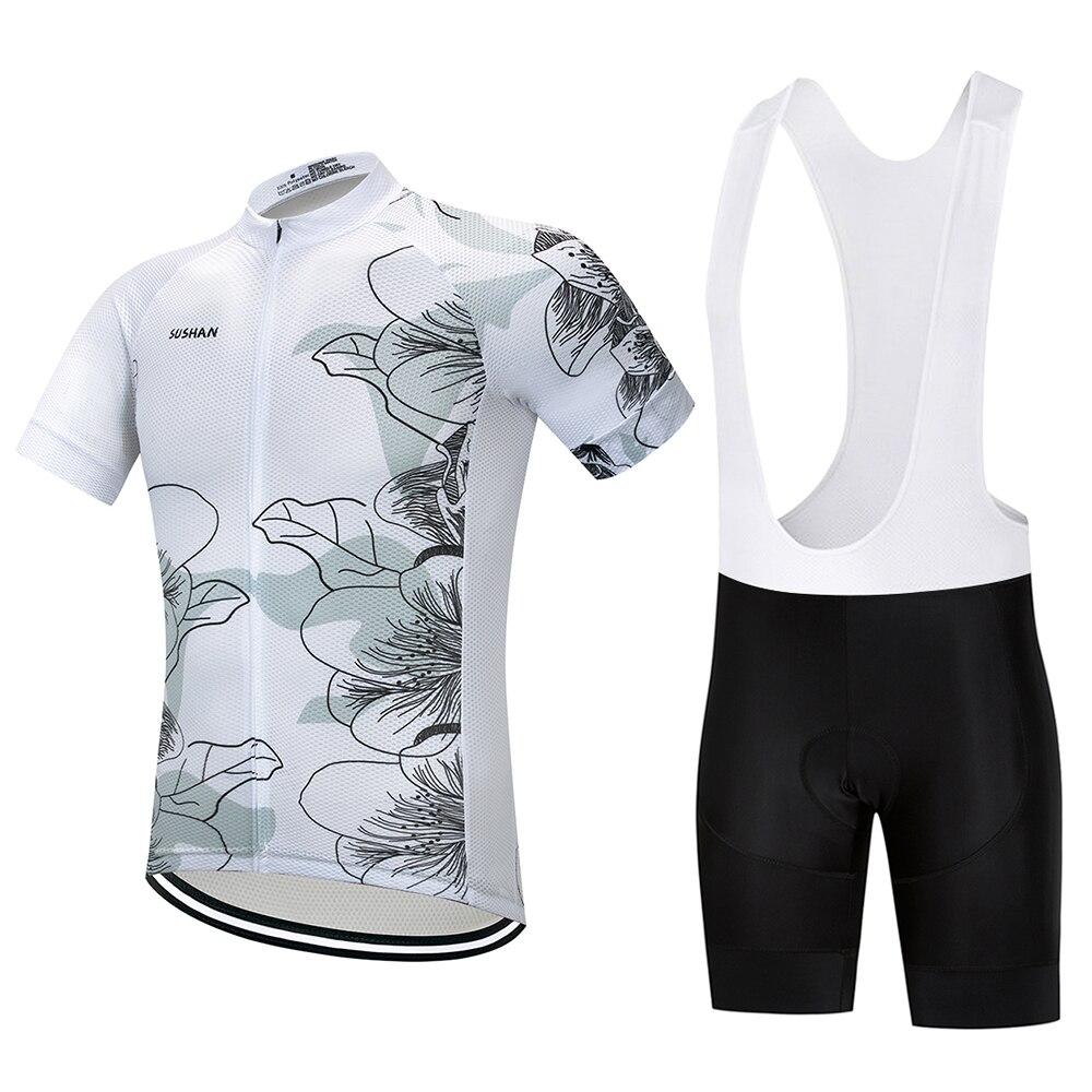 SUSHAN 100% Polyester Atmungs Radtrikot Set Mountian Fahrrad Sportswear Bike Kleidung Maillot Ropa Ciclismo Radfahren Set