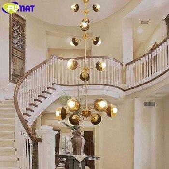 FUMAT مورديرن الأوروبي الثريا النحاس LED الثريا الإضاءة ضوء داخلي مصباح لغرفة المعيشة مطعم فيلا قاعة