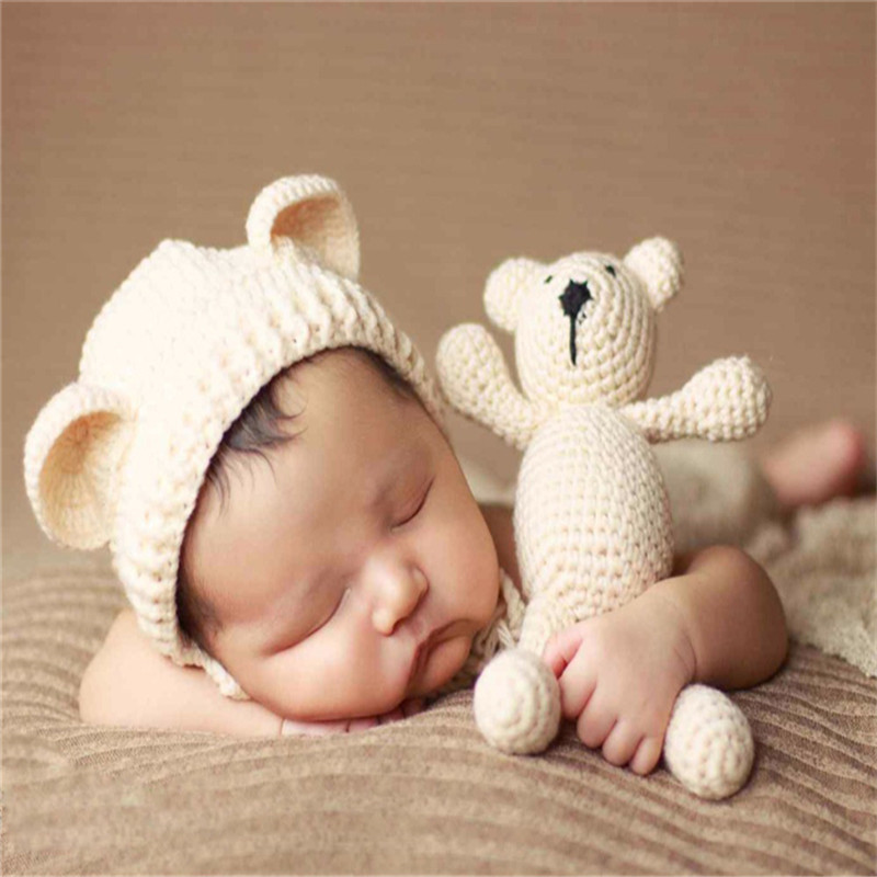 Cute Photography Prop Photo Crochet Bear and Hat Set Handmade Newborn Photography Studio Booth Props Baby Beanies Accessories