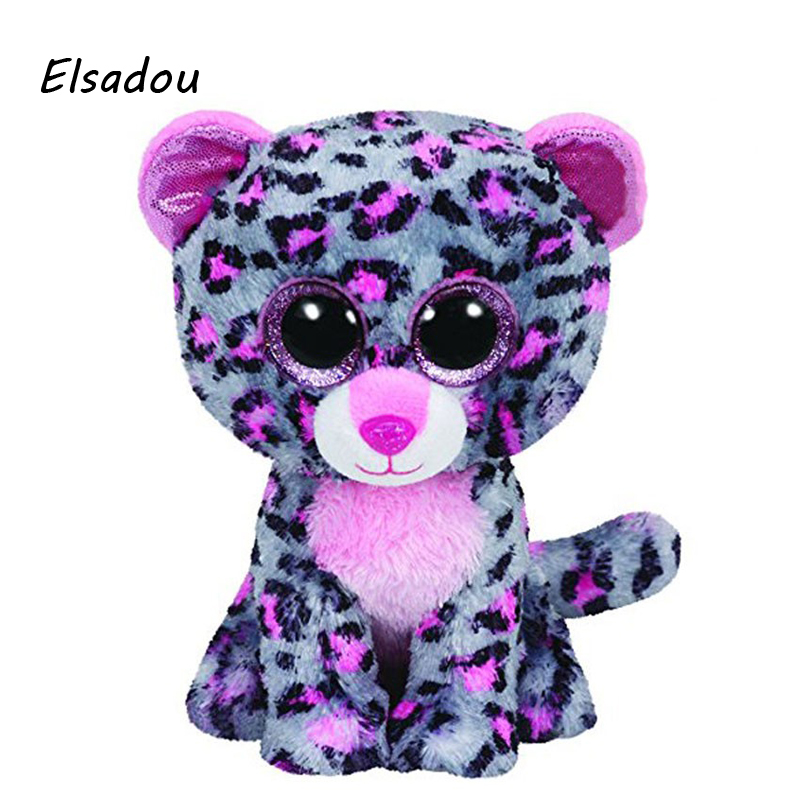 Elsadou Ty Beanie Boos Stuffed Plush Animals Gray Purple Leopard font b Toy b font Doll