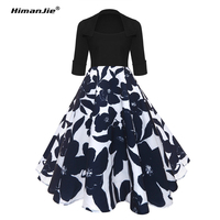 Himanjie Vintage Dresses 50s 60s Rockabilly Elegant Women Retro Dress Big Swing Half Sleeve Audrey Hepburn