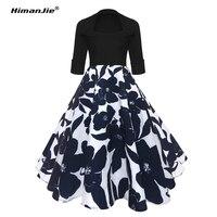 Himanjie Vintage Dresses 50s 60s Rockabilly Elegant Women Retro Dress Big Swing Half Sleeve Audrey Hepburn