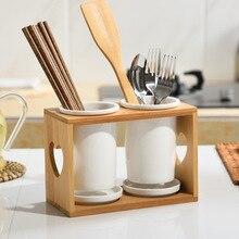 Baffect, кухонный держатель для столовых приборов, стойка для хранения ложек, вилок, палочек для еды, Бамбуковая посуда, сушильная сливная трубка, держатель для столовых приборов