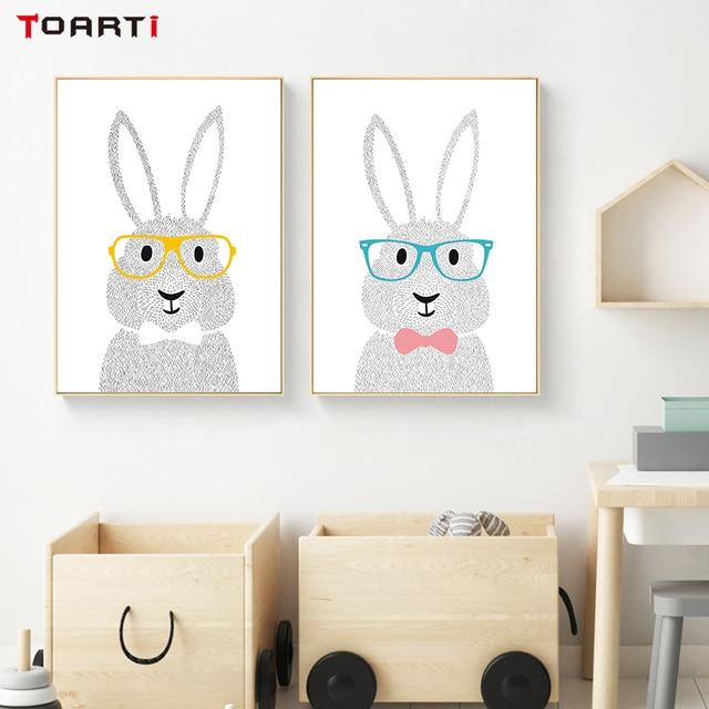 Aliexpress.com : Buy Nordic Style Cartoon Bunny Canvas Painting Wall ...