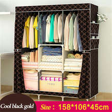 Rent room Wardrobe Non-woven Fabric Steel frame reinforcement Standing Storage Organizer Detachable Clothing Closet furniture(China)