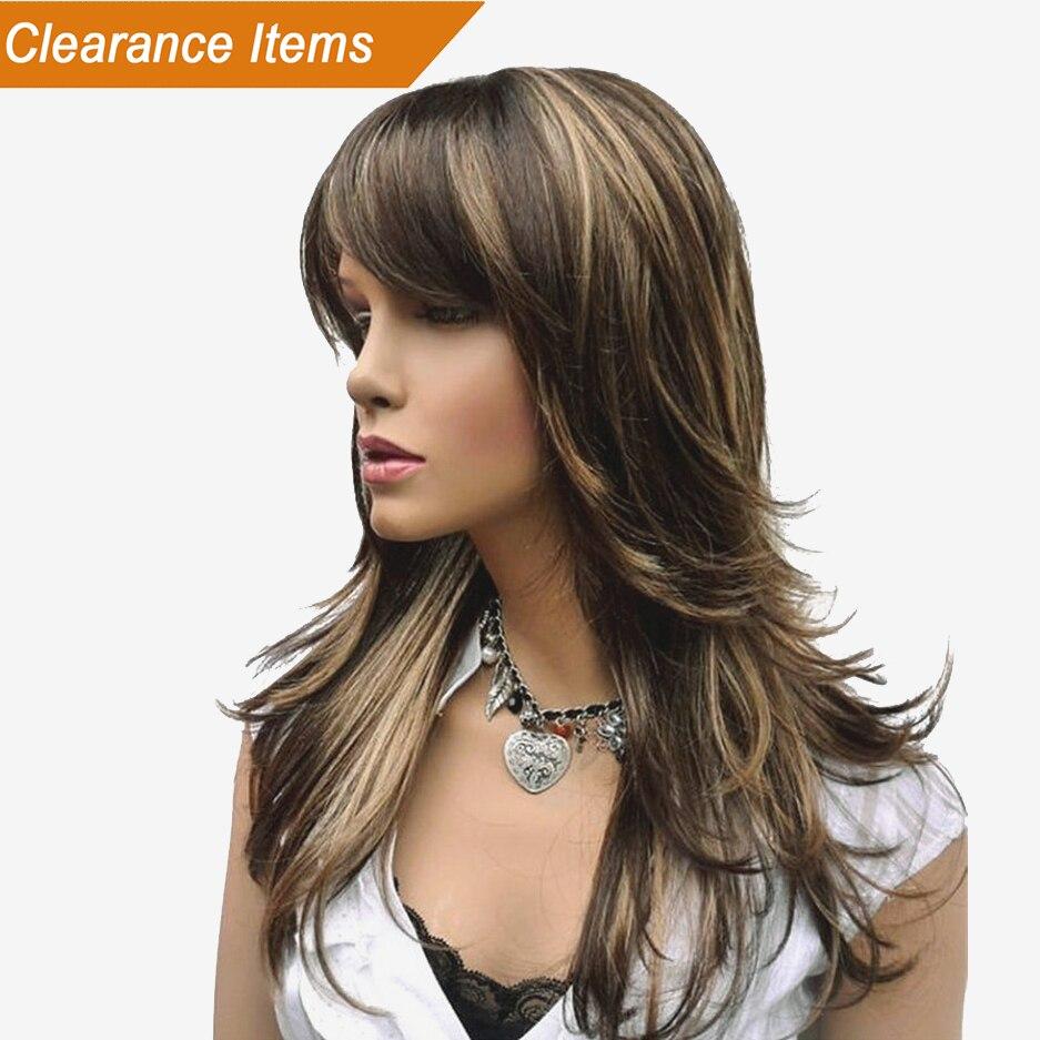 StrongBeauty mujeres peluca sintética largo recto capas peinado marrón con reflejos rubios pelucas