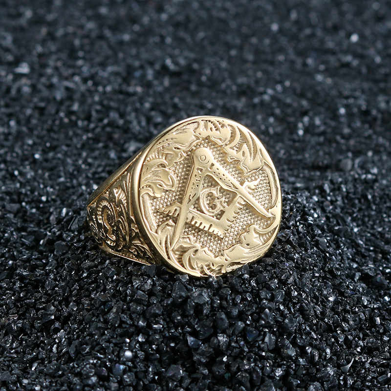 Anéis de fundição de metal de aço inoxidável da cor do ouro dos anéis dos homens de oloyu figura original freesonry pedreiro jóias para o homem do punk