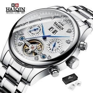 Image 1 - Haiqin relógio mecânico automático, homens relógios top marca de negócios de luxo militar à prova d água relógio turbilhão reloj hombre