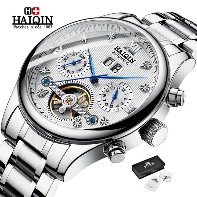 Haiqin relógio mecânico automático, homens relógios top marca de negócios de luxo militar à prova d água relógio turbilhão reloj hombre