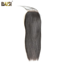 BAISI Hair Peruvian Straight Silk Base Closure 4x4 100% Virgin Human Hair Free Part Middle Part Free Part(China)